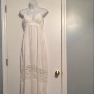 White sheer halter style maxi beach cover - up